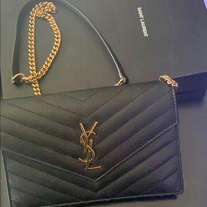 Black YSL Mono Wallet on Chain